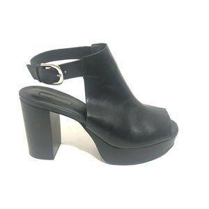 Topshop Platform Black Block Wedge Heel Open Toe